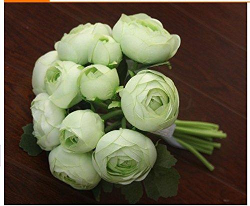 Mazzo Bouquet Camelia Fiore Seta Per Sposa Decorazione Matrimonio Vaso Casa - Verde