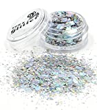 Holographic Silver Chunky Festival Glitter *Cosmetic Glitter for festival faces and bodies and sparkling glitter hair and nails *