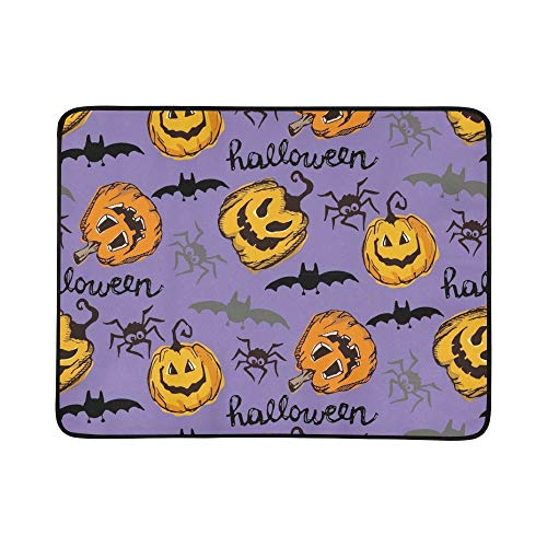EIJODNL Halloween Endless Texture Can Portable and Foldable Blanket Mat 60x78 Inch Handy Mat for Camping Picnic Beach Indoor Outdoor Travel (Cat Art Halloween Black Clip)