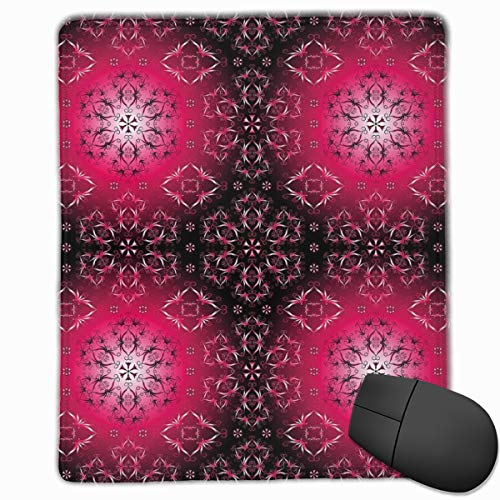 Mouse Mat Stitched Edges, Vintage Psychedelic Artsy Sacred Ethnic Ornamental Cosmos Essence Image,Gaming Mouse Pad Non-Slip Rubber Base Essence-slip