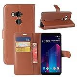HualuBro Custodia HTC U11 Plus, Custodia in Pelle PU Leather Portafoglio Wallet Protettiva Flip Case Cover per HTC U11 Plus Smartphone (Marrone)