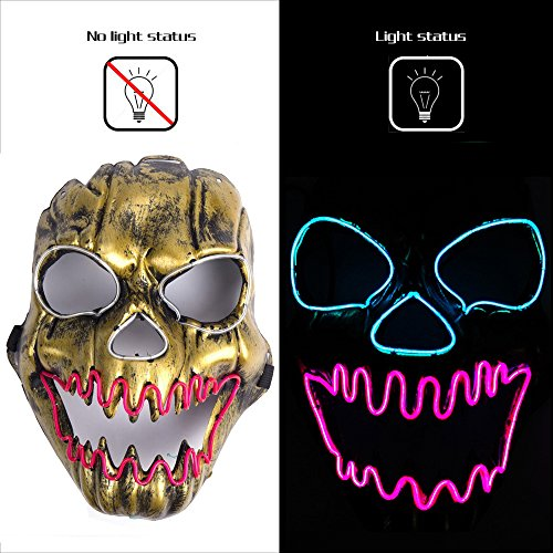 (AnseeDirect Skelett Maske Horror Maske EL Draht LED Leuchtende Maske für Halloween Cosplay Kostüm Masquerade Festpartys Karneval Weihnachten)