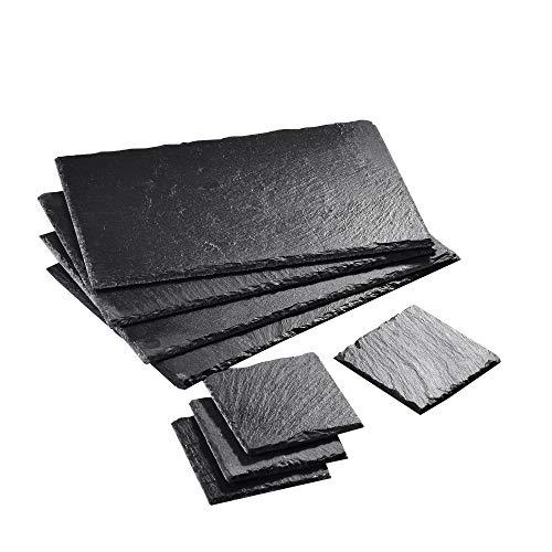 MALACASA, Serie Nature.Slate, 8-teilig Set Schieferplatte Schieferplatten in 2 Größe Schiefer Untersetzer Käse Platte Schieferuntersetzer Buffetplatte 12