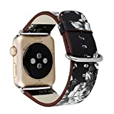 38mm/42mm Apple Watch Band, Efanr Imprimé floral Cuir véritable montre Band avec boucle classique de remplacement Sangle poignet réglable Bracelet pour Apple montre Série 2Série 1