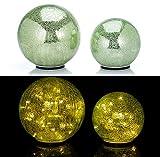 2er SET XL Glaskugeln in Bruchglasoptik mit LED Lichterkette inkl. Timer - In und Outdoor geeignet - Deko Kugeln - LED Beleuchtung (Hellgrün)