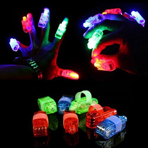 chter, Super Bright Finger Taschenlampen Mischfarbe LED Fingerlicht mit Gummiband für Täntze, Musikfestival, Party, Allerheiligen, Halloween, Weihnachts Farbe Zufällig (30 Pack) (Halloween-interaktives Spiel)