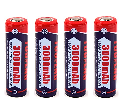 TUOFENG Akkus, 18650 Li-Ion Batterien, 3.7 V 3000 mAh Li-Ion geschützt Akku Hohe Kapazität Akku für Taschenlampe oder Stirnlampe LED, Nicht für E-Zig(4-Akkus)