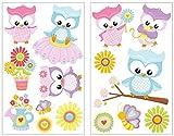 plot4u 15-teiliges Süße Eulen Wandtattoo Set Kinderzimmer Babyzimmer in 5 Größen (2x16x26cm Mehrfarbig)
