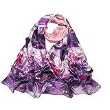 Jiuyizhe des centaines de Fleurs Blossom Pattern Foulard en Soie pour Femmes Foulard en Soie de Haute qualité Plaine crêpe Satin Longue écharpe (Color : Purple)