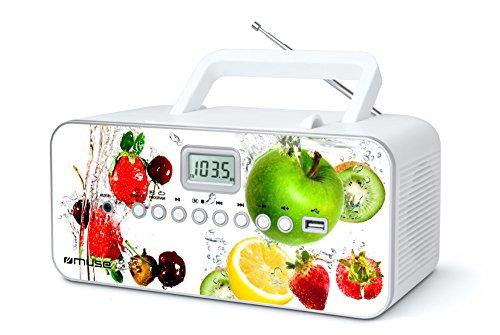 Muse M-28 VF CD-Radio tragbar, PLL UKW-Radio, MW-Tuner, Senderspeicher, USB, MP3-Wiedergabe, Netz- oder Batteriebetrieb, VF (Uhr Mit Cd-player)