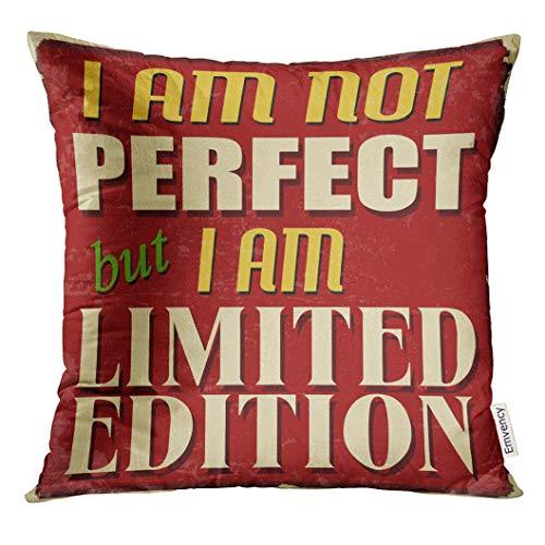 LVOE TTL Dekokissenbezug Red Funny Ich Bin Nicht perfekt, Aber Limited Edition Vintage Grunge Zitat Dekorative Kissenbezug Home Decor Square Inches Kissenbezug - Stuhl Pl Vintage