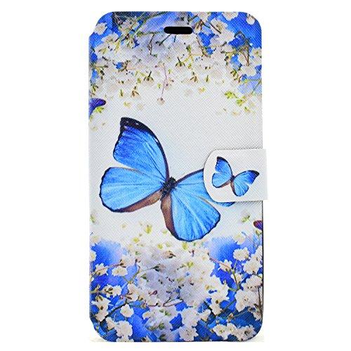 Wiko Jerry Hülle, Chreey Wallet Case Handy Schutzhülle Flip Cover PU Ledertasche Ultradünnes Klapphülle mit Kartenfach und Ständer Handyhülle - Blauer Schmetterling