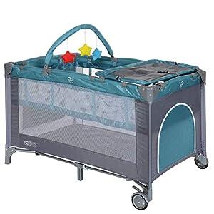 LCP Kids Baby-Reisebett 120×60 klappbar mit Neugeborenen Einlage Wickelauflage in Blau