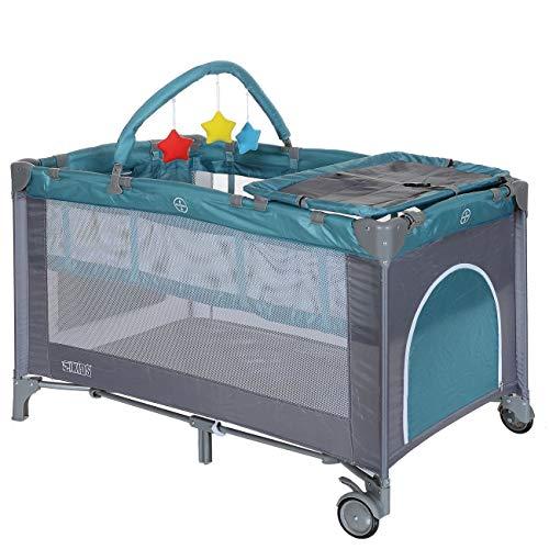 Reisebett 120x60 faltbar Höhenverstellbare Neugeborenen Einlage – Wickelauflage; Grün