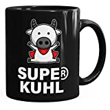 MoonWorks Lustige Kaffee-Tasse Super Kuhl Kuh glänzend Schwarz Unisize
