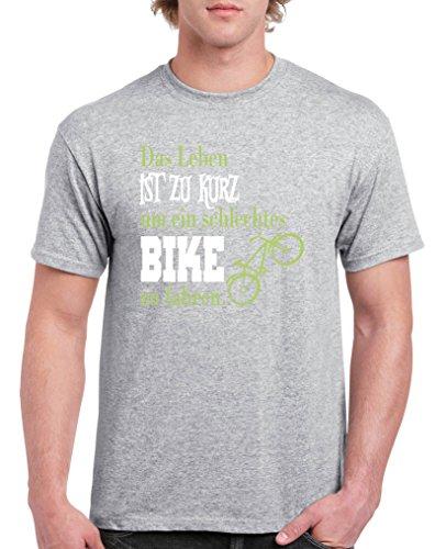 Comedy Shirts - Das Leben ist zu kurz um EIN schlechtes Bike zu Fahren - Herren T-Shirt - Graumeliert/Hellgrün-Weiss Gr. M