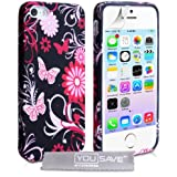 Yousave Accessories Floral Butterfly Silicone Case for iPhone 5/5S - Pink/Black