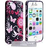 Yousave Accessories Floral Schmetterling Silikon Hülle für iPhone 5/5S–Pink/Schwarz