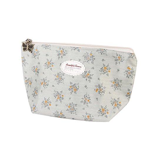 BZLine® Sac à cosmétiques, Imprimé Floral Coton Pochette de Maquillage Porte-Monnaie à Rayures (Bleu)
