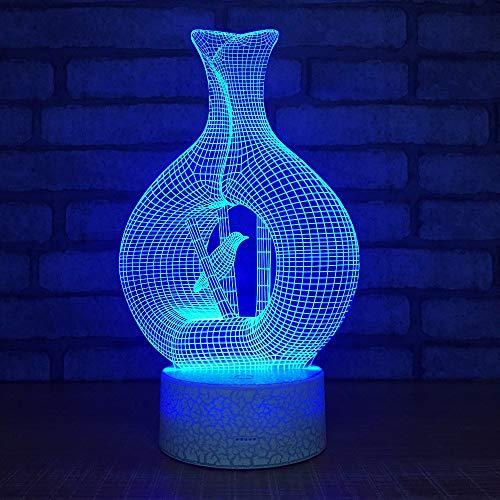 Neuheit Vase Vogel Form LED 3D Tischlampe Acylic 3d Nachtlichter USB 7 Farben Ändern Tischlampe Für Kinder Geschenke -