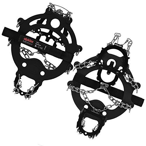 ALPIDEX Schuh Spikes Grödel SNOWDEX Schneeketten für Schuhe in verschiedenen Größen Schuhkrallen mit Edelstahlspikes 12 Zähne, Größe:L, Farbe:Black
