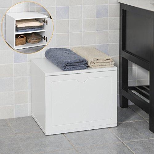SoBuy® FSR46-W Banc de rangement salle de bain panier à linge meuble d'entrée - Blanc
