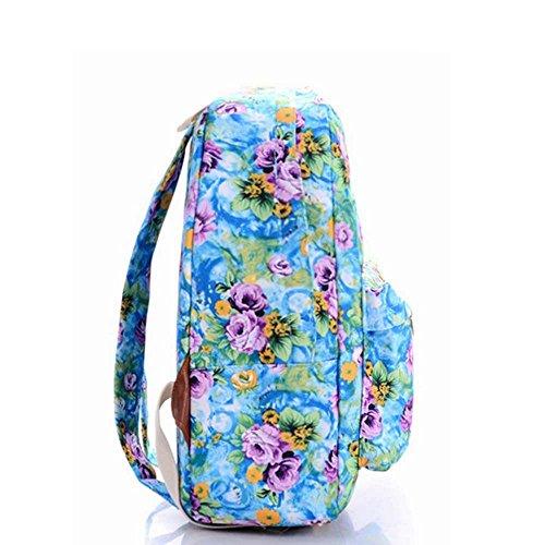Borsa blu e viola vintage floreale stampato sacchetto di zaino per scuola della borsa del computer portatile dello zaino della tela di canapa per le ragazze delle ragazze delle ragazze Fiore blu e viola