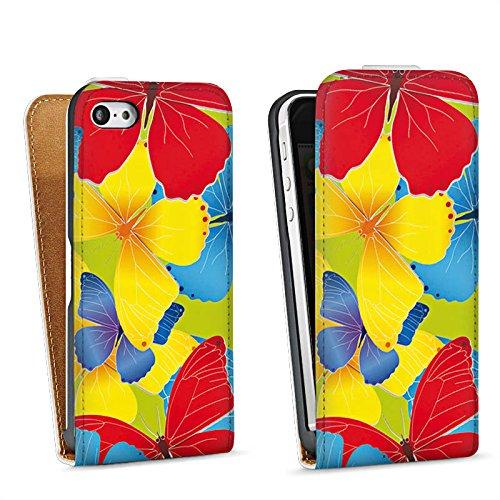 Apple iPhone 5s Housse Étui Protection Coque Papillons couleurs Motif Sac Downflip blanc