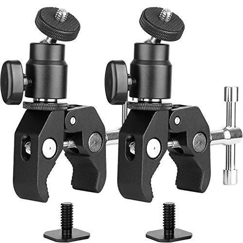 2Pack ChromLives Kamera Super-Klemme und Mini-Kugelkopf-Blitzschuh-Adapter mit Stativschraube für LCD/DV-Monitor, LED-Lichter, Blitzlicht, Mikrofon und mehr Camera Clamp Adapter