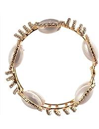 Zephyrr Fashion Gold Tone Bracelet Pearls Handmade Adjustable Free Size