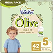 BabyJoy Olive Oil, Size 5, Junior, 14-23 kg, Mega Pack, 42 Diapers