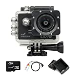 BOOMYOURS Original SJCAM SJ5000X WiFi Elite Edition Actioncam,Action Sport Kamera,Helmkamera(2.0inch LCD,12MP,4K 24FPS,Sony IMX078 Sensor,Gyro Anti-Shake)+Extra Akkus+32GB Micro SD Card+USB Akku ladegerät+USB to AV out Kabel