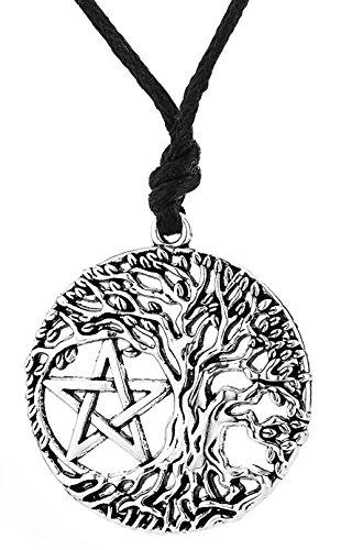 Viking Talisman Rune Yggdrasil Keltischer Baum des Lebens Pentagramm Anhänger World Tree Halskette für Frauen Velvet Holiday-outfit