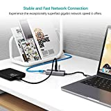 QacQoc USB C Hub Ethernet Adapter, USB C to RJ45 10/100/1000Mbps Gigabit Ethernet with 3 USB 3.0 Ports for MacBook/MacBook Pro 2016/2017, Chromebook, Samsung Galaxy Tab Pro S and More Devices (Grey) Bild 2