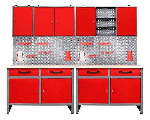 Ondis24 Werkstatteinrichtung rot 7-teilig Werkbank Werkzeugschrank Werkzeugwand/Lochwand mit Haken +...