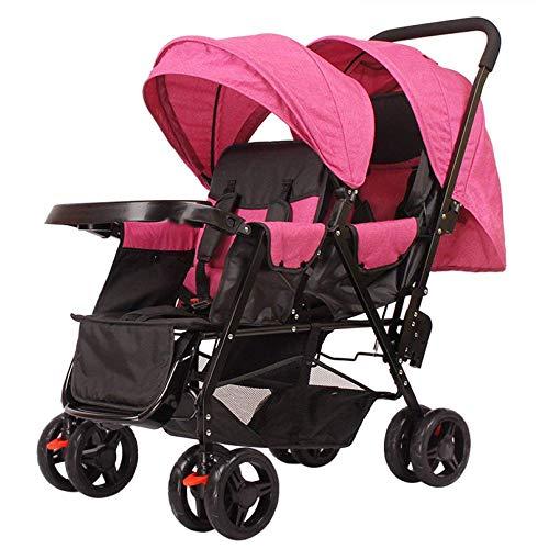 LLX Kinderwagen Doppel Buggy Twin Tandem Kinderwagen Kinderwagen 2 Sitzeinheiten Baby Travel Universal,K