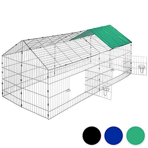 Galleria fotografica TecTake Gabbia da esterno per conigli con protezione parasole | lungh. x largh. x h 180 x 75 x 75 cm - disponibile in diversi colori - (Tetto verde | no. 402420)