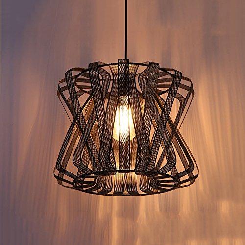dustrial Retro 1-Licht Einstellbare Eisen Net Pendelleuchte mit Metallschirm in Schwarz Decke Kronleuchter Lampe Gang Küche Wohnzimmer Hängeleuchte ()