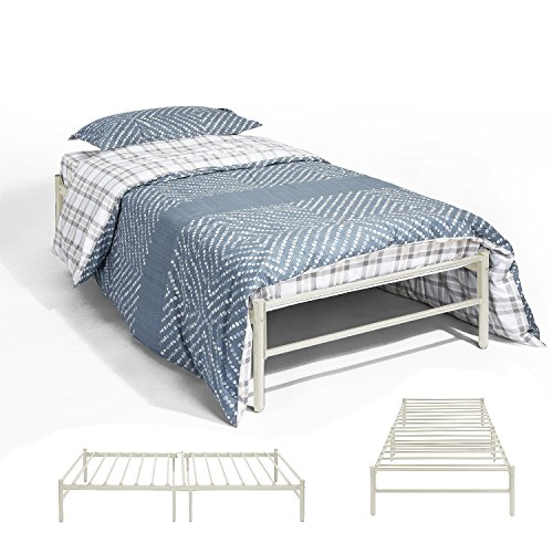 EGGREE 3ft Single Day Bed Trundle Bed Scrub Metal Guest Bed Frame with Solid Metal Slat, Beige