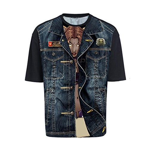 MILEEO Herren T-Shirt Kurzarm 3D Druck Print Strandshirt T-Top 11