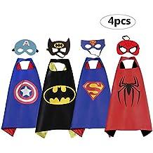 RioRand Superhero Disfraces de Disfraces de Dibujos Animados Capas de Satén con Máscaras de Fieltro para Niños