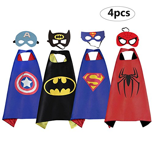 RioRand Superhero Cartoon Dress up Kostüme Satin Capes mit Filz-Masken für Jungen