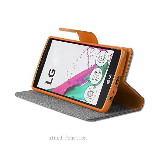LG V10 Hülle Leinwand Umhängetasche REXANG Geschenk [Brieftasche und Kartenfächer] [Bookstyle Buch] [mit Stand Funktion] [Woven + Leder (PU) + TPU] (LG V10, Grau) - 2
