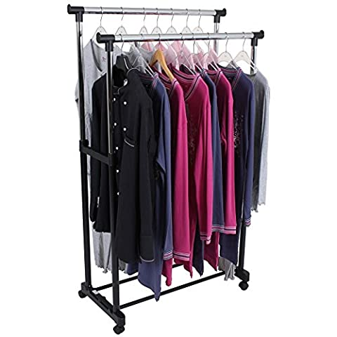 Kleiderständer, fahrbar, stabil, 2 Ausleger, Höhe 95-169 cm, Garderobenständer; Rollgarderobe