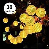 Guirlande Lumineuses Solaire LED Lanterne, ALED LIGHT 30 Lanternes LED 6,5M/21,3Ft Étanche Extérieur Décorative Guirlande Lampion LED pour Fête, Noël, Jardin, Patio, Halloween (Blanc Chaud)