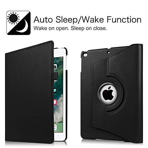 Fintie iPad 9.7 Zoll 2017 / iPad Air Hülle - 360 Grad Rotierend Stand Smart Cover Case Schutzhülle mit Auto Schlaf / Wach Funktion für Apple iPad 2017 Neue Modell / iPad Air 2013 Modell, Schwarz - 2