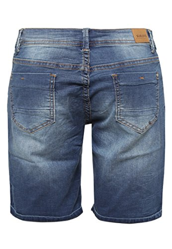 SUBLEVEL Damen Stretch Jeans Bermuda-Shorts | Bequeme kurze Hose im Used-Look middle-blue
