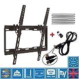 Unispectra - Staffa da parete per 32' - 55' TV a LED, LCD, plasma, 3D, VESA da 75 x 75 mm a 400 x 400 mm + cavo antenna da 1,5 m incluso, Nero