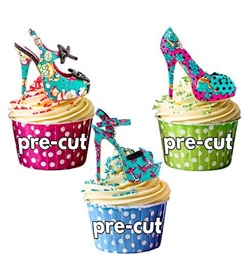 12 x Turquoise et rose Style gothique Punk talons de chaussures en Papier comestible prédécoupé pour décorations de gâteau avec support pour carte Ups