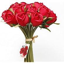 EPCTEK 18pcs Rose Fleur Artificielle Mariages, et de Noël, le Meilleur Fleur Cadeau d'anniversaire qu'elle pourrait s'Offrir, Chambre, sur des Terrasses, Bureaux, des Logements.